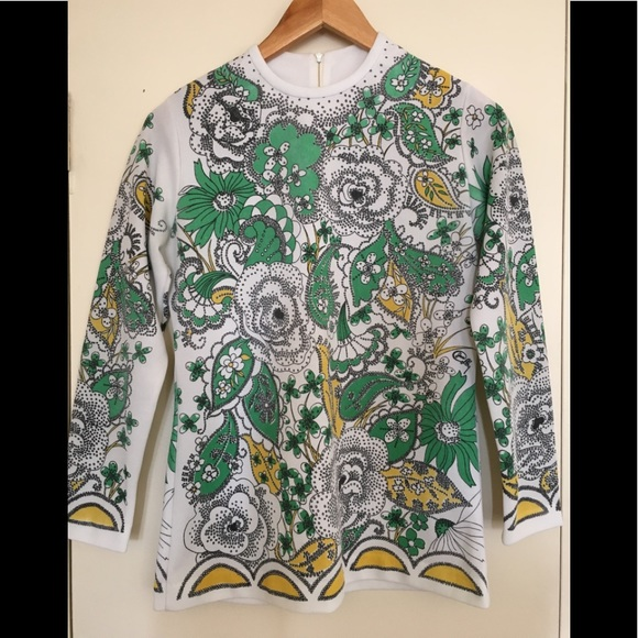 Vintage Sweaters - Vintage Paisley 70s fitted sweater with zip.
